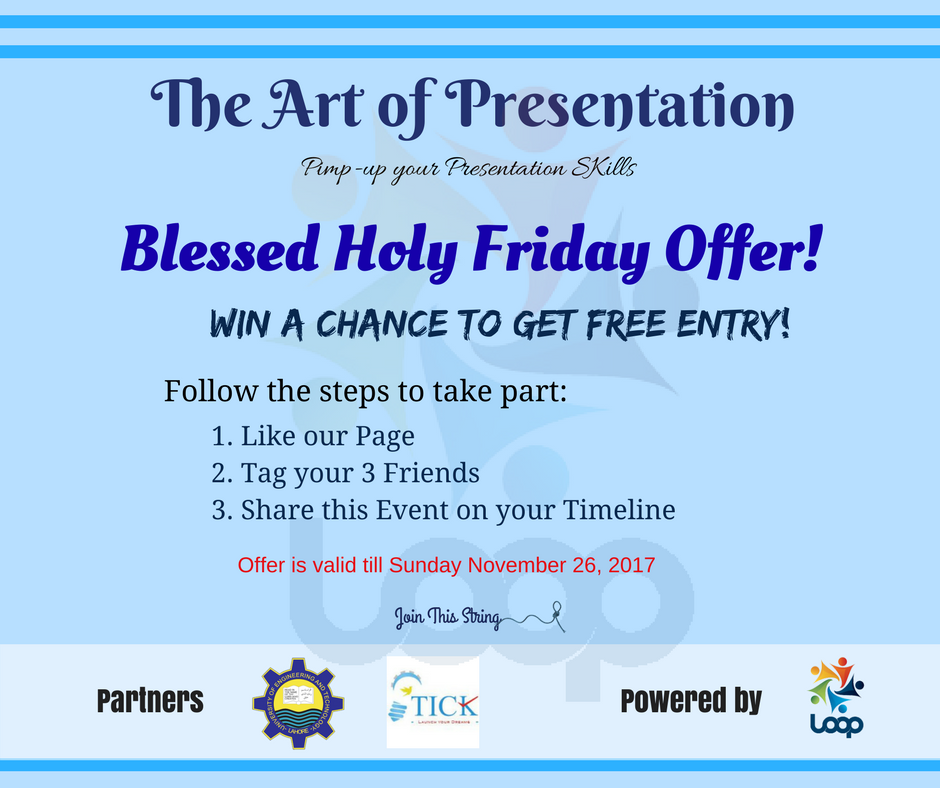 On this Blessed Holy Friday, you can get a free entry pass to this string of opportunities. Follow the steps and win a chance: 1. Follow us 2. Tag your 3 friends in this post 3. Retweet with #LOOP #LOOP #Tech_LOOP #YLTP #Presentation #Training #YouthDevelopment #UET #Kics<br>http://pic.twitter.com/CRcRzVQrMI