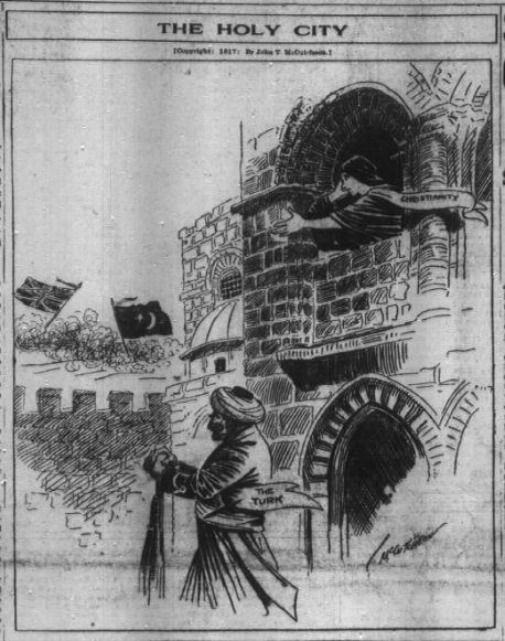 Nov 18, 1917 - Chicago Tribune depicts British campaign to capture Jerusalem as saving Christianity from the Turks #100yearsago