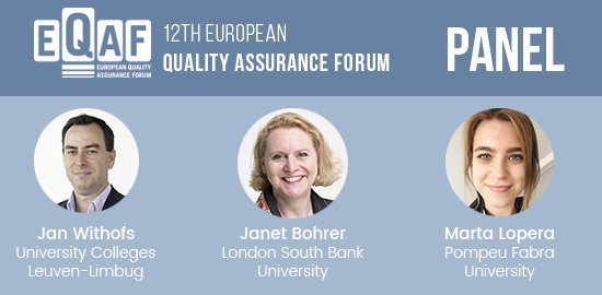 #EQAF 2017 2nd day just started! Panel discussion with @mloperamarmol from @UPFBarcelona, @janwithofs from @ucleuvenlimburg &amp; Janet Bohrer from @LSBU discussing the relationship between #institutional actors responsible for #QA &amp; #communication  http:// bit.ly/EQAF2017  &nbsp;  <br>http://pic.twitter.com/Sb5jF6kiTe