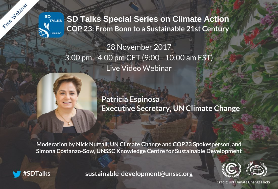 Join me for a a discussion on key outcomes of @UN #climate conference #COP23, organized by @UNSSC &amp; @UNFCCC  http:// bit.ly/2jh0yBf  &nbsp;   Webinar on 28 November #SDTalks #GlobalGoals<br>http://pic.twitter.com/kdXxVDTWYe