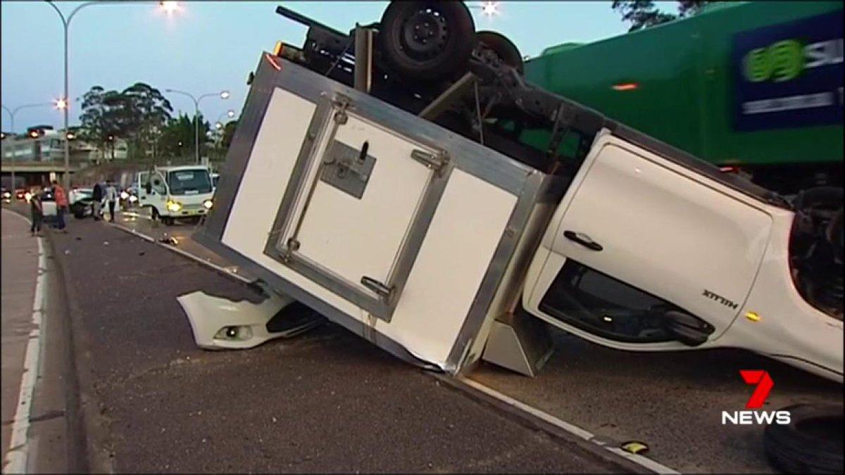Warringah Freeway Crash: Van flipped on...