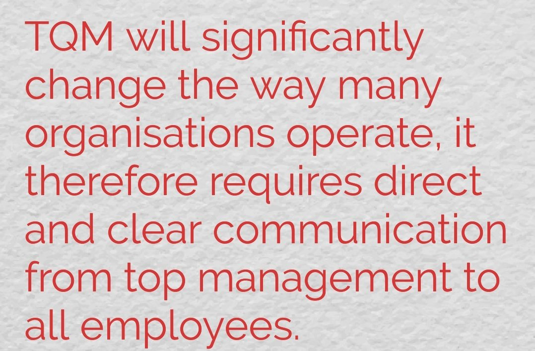 #TQMFocus on #communication. TQM will significantly change the way many organisations operate, it therefore requires direct and clear communication from top management to all employees. <br>http://pic.twitter.com/3RyKTZQCpr