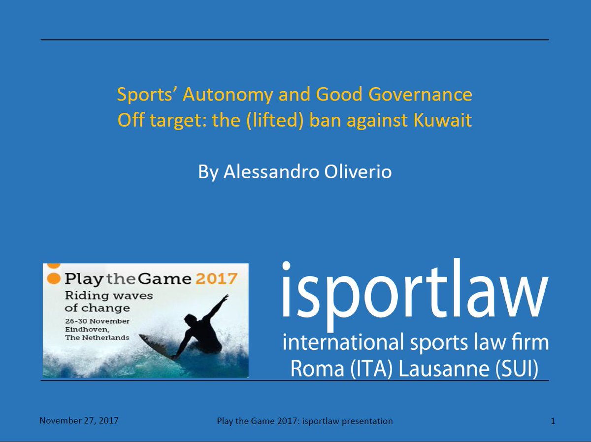 Finalising the presentation (on #sports #autonomy and good #governance. The #Kuwait case) for the #ptg2017 @playthegame_org Conference. Looking forward to reaching #Eindhoven. Full programme at  http://www. playthegame.org/conferences/pl ay-the-game-2017/programme/ &nbsp; … <br>http://pic.twitter.com/ySUEUk365v