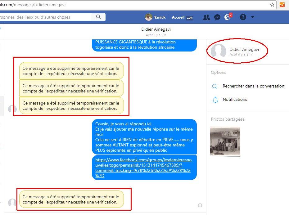 Tout à coup #Facebook FAIT DISPARAITRE #ClaudeAmegavi la #censurePolitique n'a aucune limite pour SOUTENIR la #dictature #Gnassingbé au #Togo au service de #Bolloré #Macron #Trump #DGSE #CIA @facebook a même fait DISPARAITRE le contenu des messages PRIVES que mon ami FB a postéspic.twitter.com/6ZVlfJR7bq