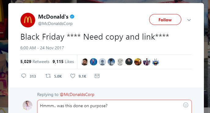 Do you think @McDonalds social team did this on purpose? If not they made a &quot;meal&quot; of it ! 1000x more engagements than older posts and no need for a promoted tweet. Would you try on your biggest brand? #ppcchat #ppc #twitter #viral #blackfrydayfun<br>http://pic.twitter.com/kAsNmq20Vn
