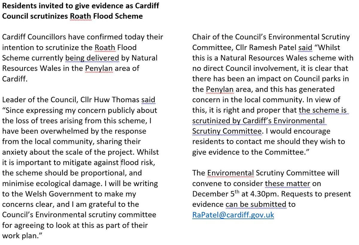Important update on Roath flood scheme. Council scrutiny committee to look at project on Dec 5th. My thanks to @RameshPatel32 for agreeing to this.