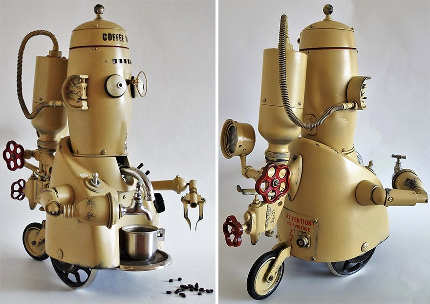 #Art Awesome of the Day: #Industrial #Steampunk-ish 'Coffee Man' #Sculpture by Artūras Tamašauskas via @Steampunkland #SamaArt