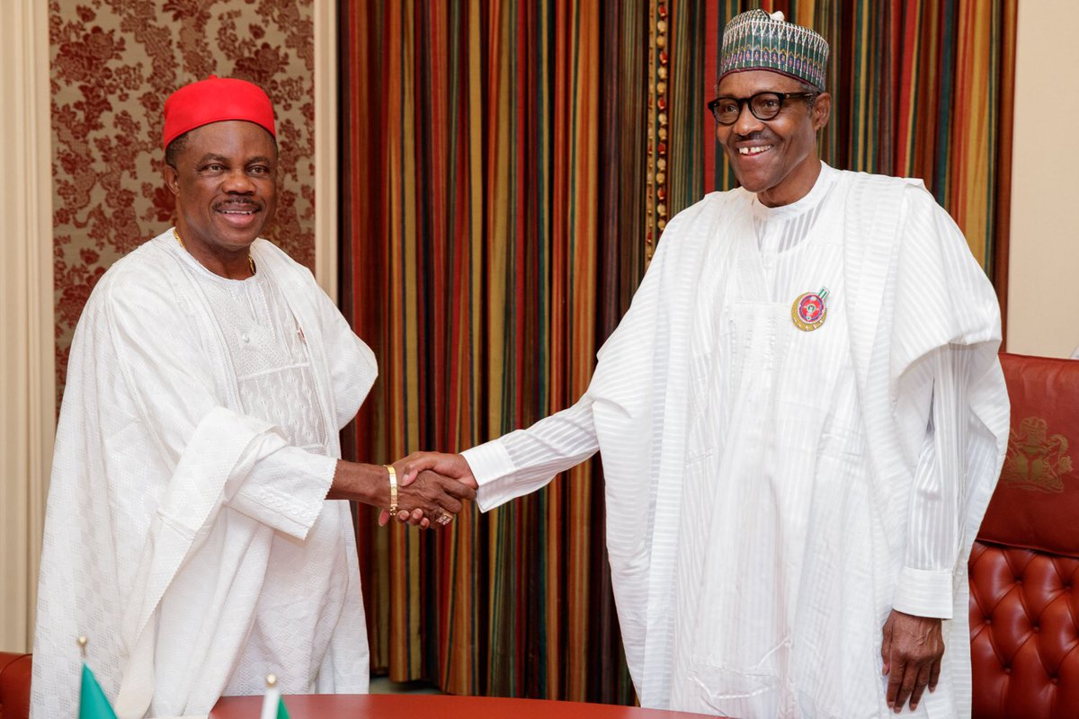President Muhammadu Buhari received Governor Willie Obiano of Anambra State, at the State House.