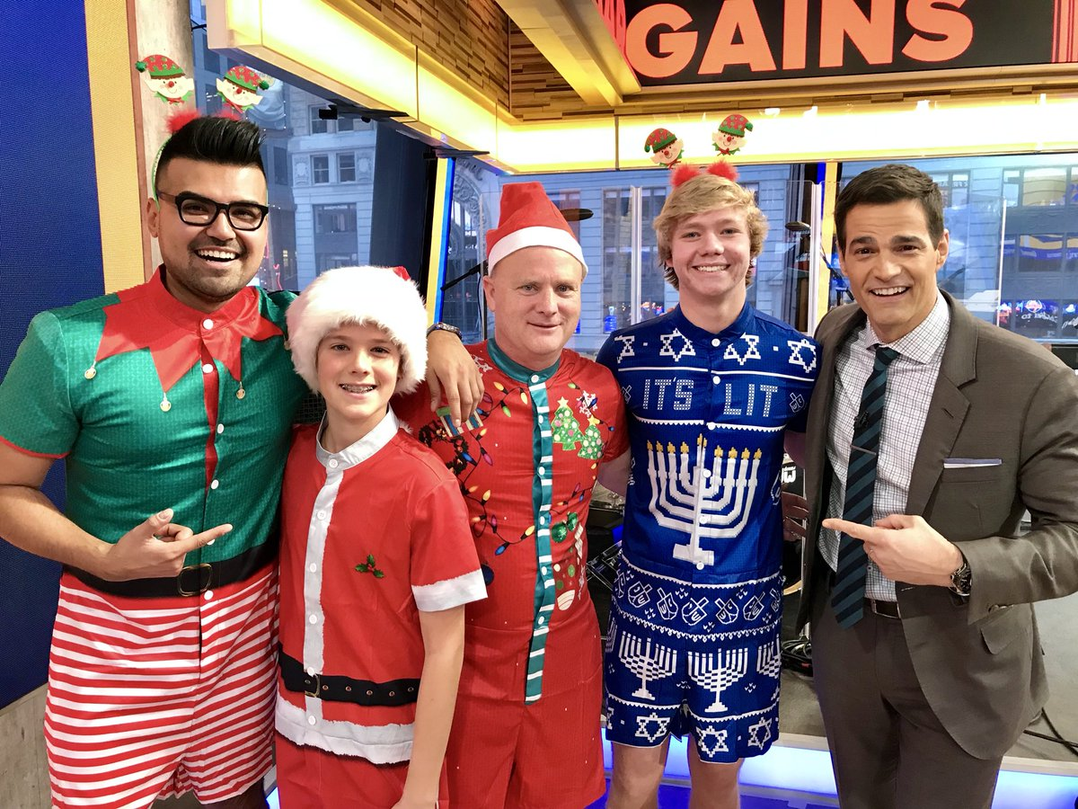 84b585614f66 were having some fun with mens holiday rompers at gma today apparently  theyre all the rage