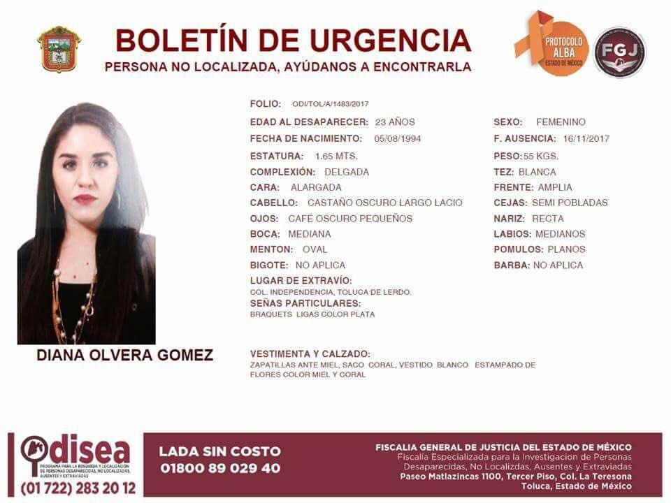 RT ayúdanos a localizar a diana Olvera desapareció el 16/11/27 @Fam_Unidas_AC @AlertaAmberCiu @rosiorozco https://t.co/9V0oL21yuD
