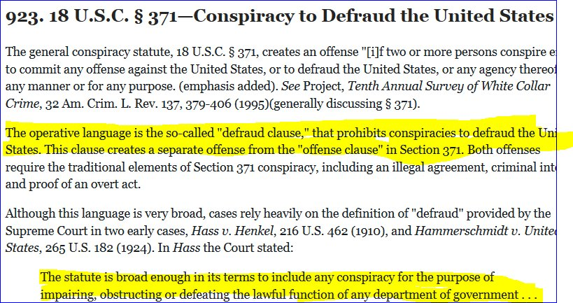 (Whole Thing Is Here:  Https://www.justice.gov/usam/criminal Resource Manual 923 18 Usc 371 Conspiracy  Defraud Us U2026). First Thing You 1/pic.twitter.com/ ...