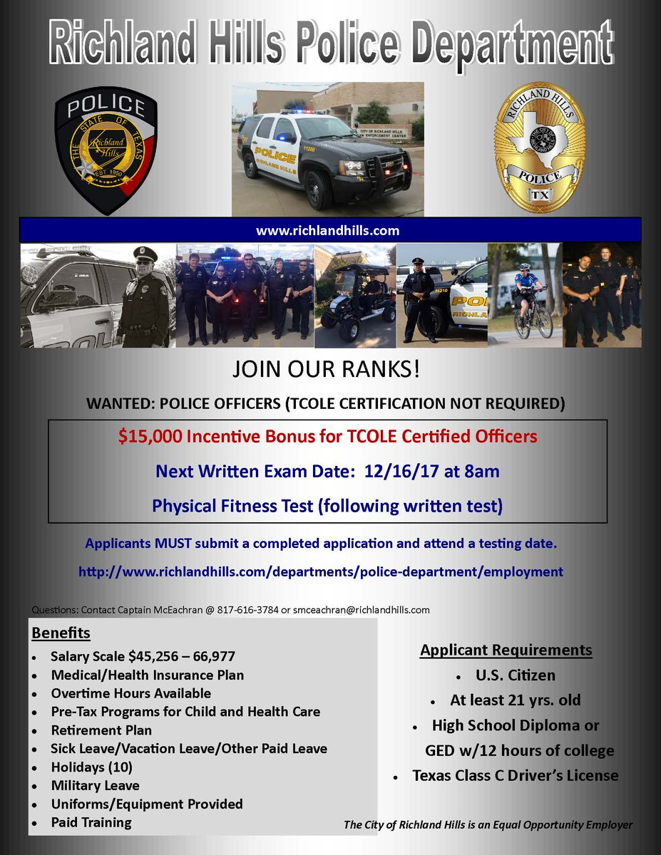 Richland hills pd on twitter police officers wanted 15000 richland hills pd on twitter police officers wanted 15000 incentive bonus for certified officers httpstuwri92yd7y 1betcityfo Images