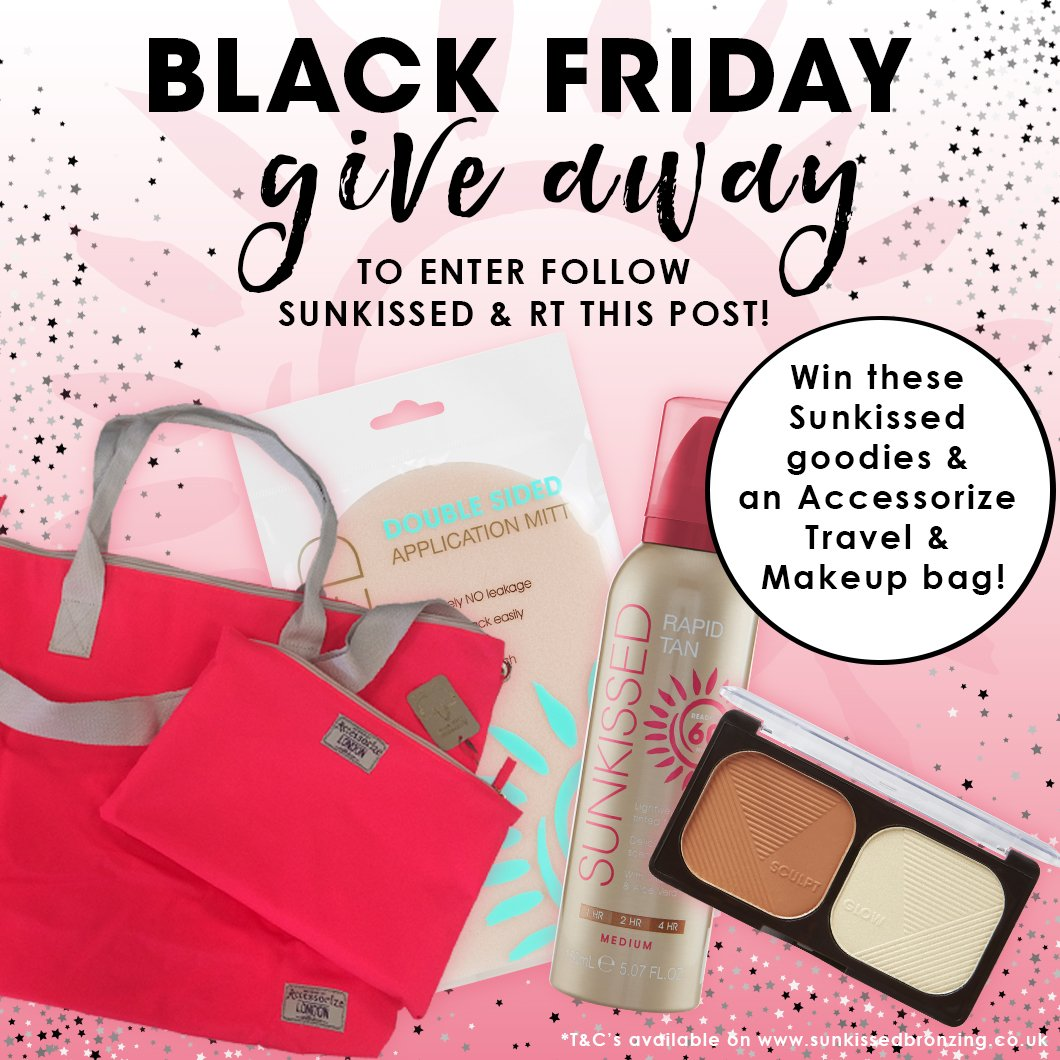 Sunkissed #BlackFriday #COMPETITION ! To enter, simply RT this post &amp; follow @WeLoveSunkissed  Ends 26.11.17! UK ONLY  #win #prize #comp #offer #winner<br>http://pic.twitter.com/FTPbYJfQNc