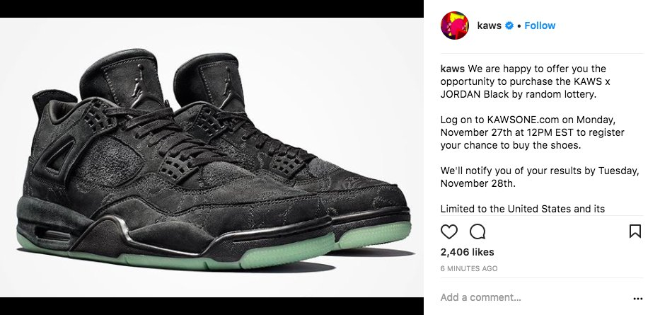 66a5efccc366bf monday kaws x jordan 4 black dropping monday via random lottery
