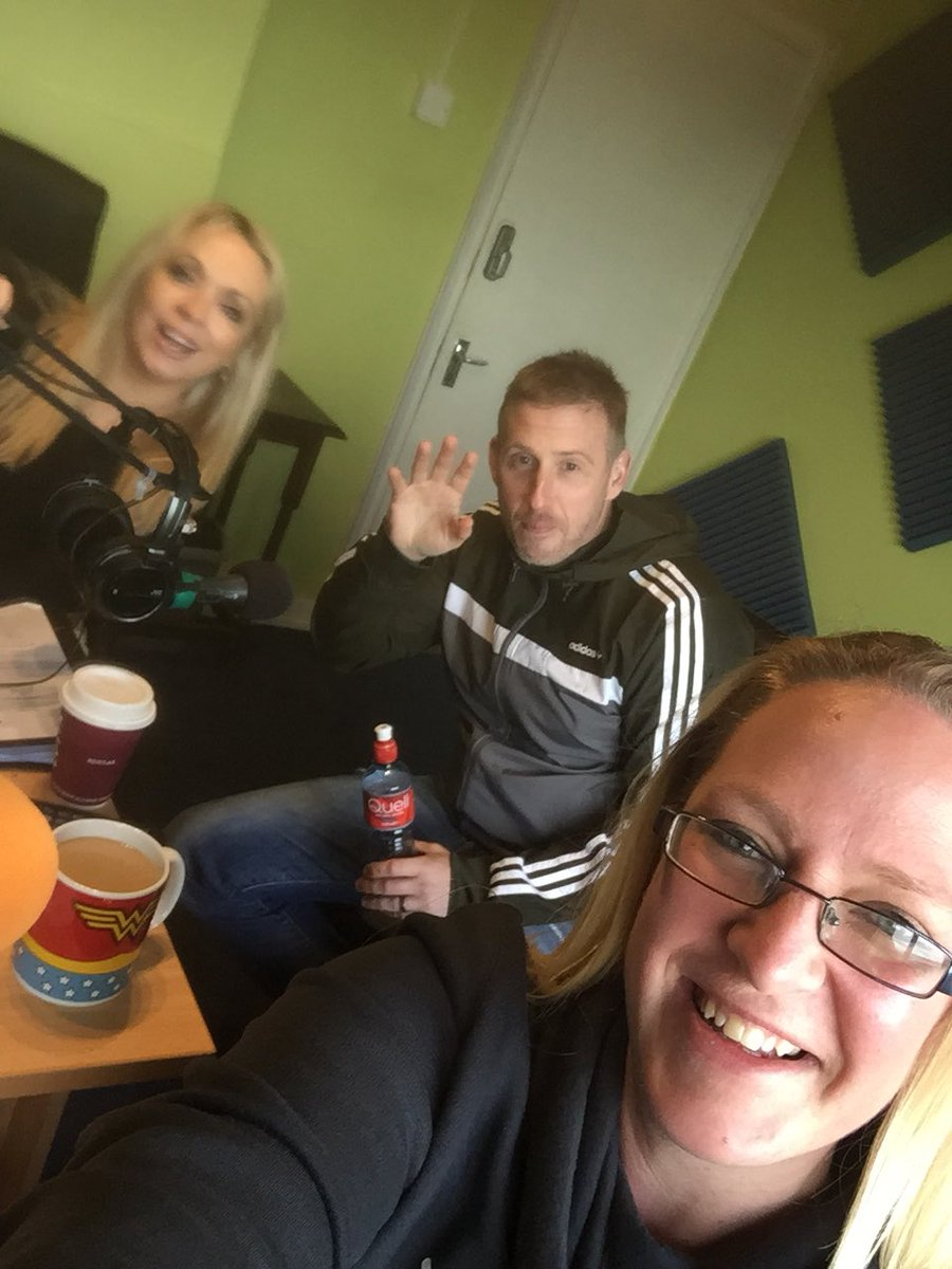 Ready to go and we've reigned the buttons in! @johnny_buttons @Alltheway80s and myself ready for fun facts deadly music and more @tcrfm #TCRfm #Radio #Ireland  <br>http://pic.twitter.com/DaFnSuAsjh