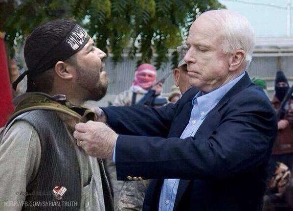 @FoxNews Brain Rot #Traitorous John McCain would rather spend Holidays with ISIS  heres picture of #Obstructionist McCain tidying up Isis buddy <br>http://pic.twitter.com/B6WSX3uRBQ