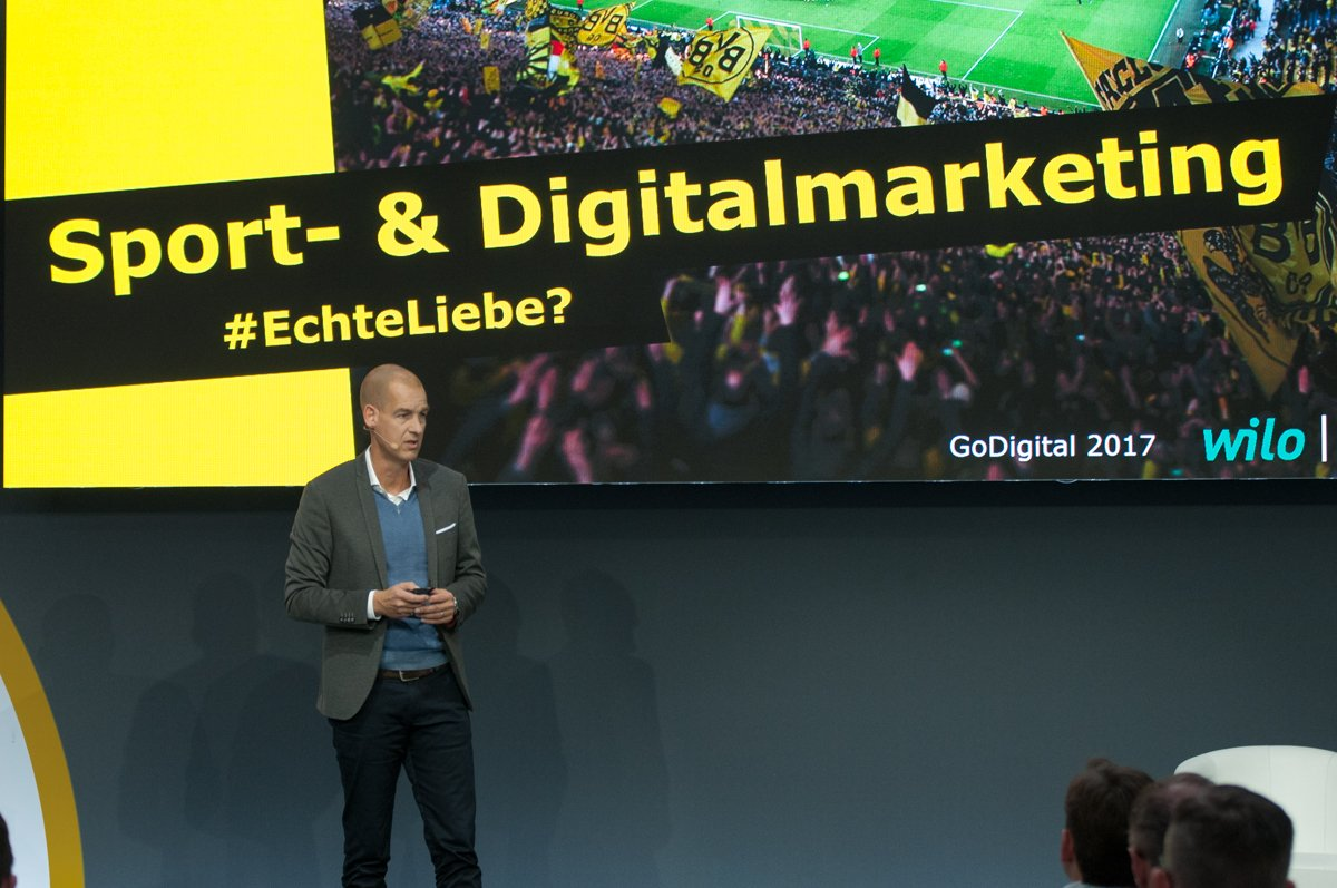 In the past, we addressed our fans via classic Stadium communication, today we are able to reach 27 million people in a vast variety of ways Carsten Cramer of BVB at #GoDigital2017 summit in Berlin.