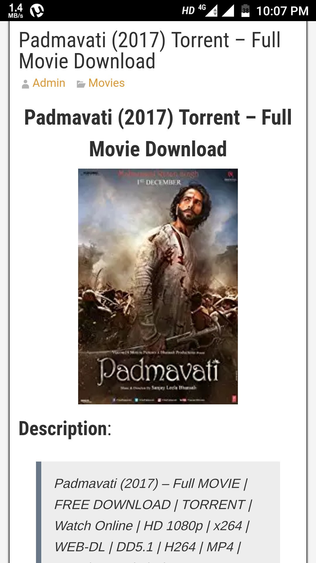 free download torrent movie padmavati