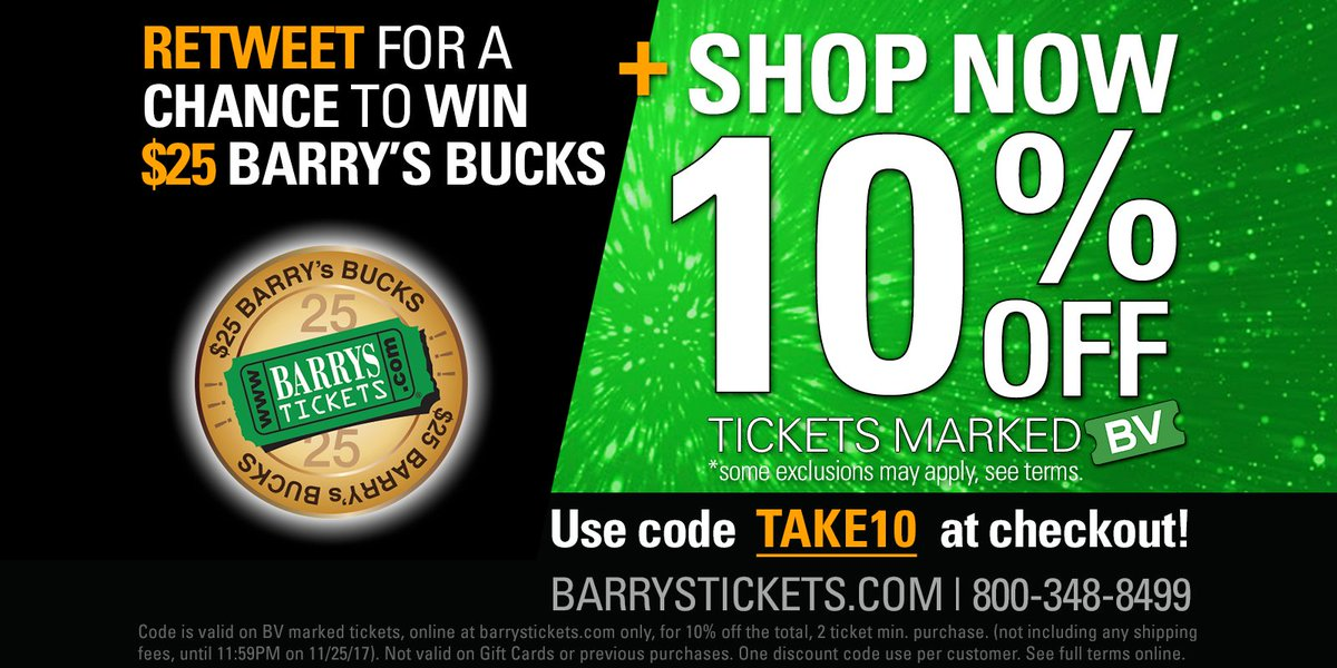 There is STILL TIME! #RETWEET for chance to #WIN $25 #BarrysBucks + #BlackFriday #Sale is On Now! Use #code TAKE10 for 10% OFF all BV #Tickets on  http://www. barrystickets.com  &nbsp;     #Discounts #Coupons #Coupon #Discount #Sales #BlackFridayDeals #BlackFriday2017<br>http://pic.twitter.com/x4qQHb6BNh