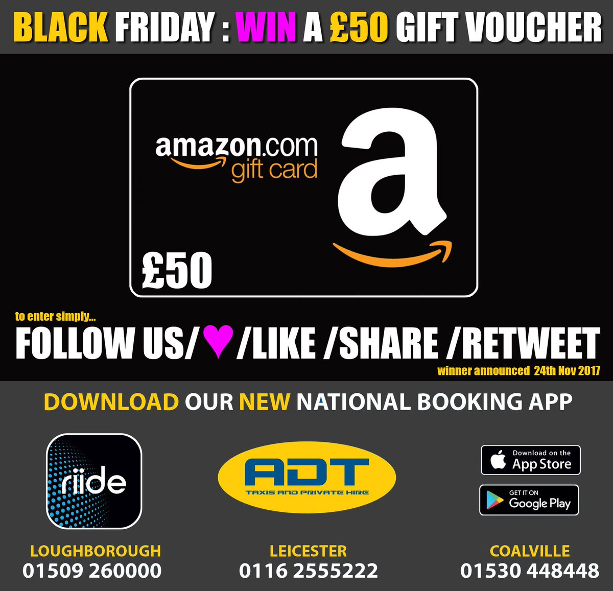 HERE IS OUR BLACK FRIDAY deal... WIN £50 Gift VOUCHER for FREE !!! To ENTER simply RT / LIKE/ SHARE /  and FOLLOW our ACCOUNT.... we will pick ONE winner tonight... SO GET ENTERING !! #win #free #prize #raffle #blackfriday #gift #giftvoucher And download our Riide APP today !<br>http://pic.twitter.com/ixMYu14V6J