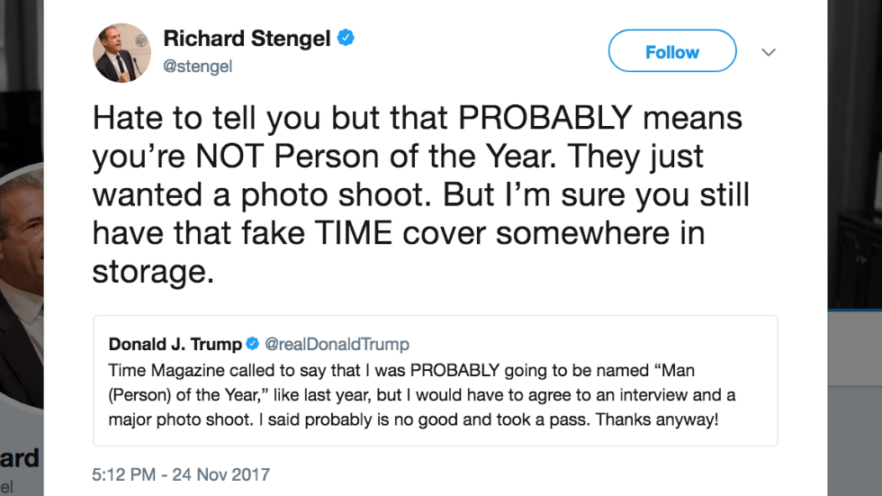 Ex-Time editor trolls Trump: You still have your fake Time cover in storage https://t.co/nsqKr4Okum