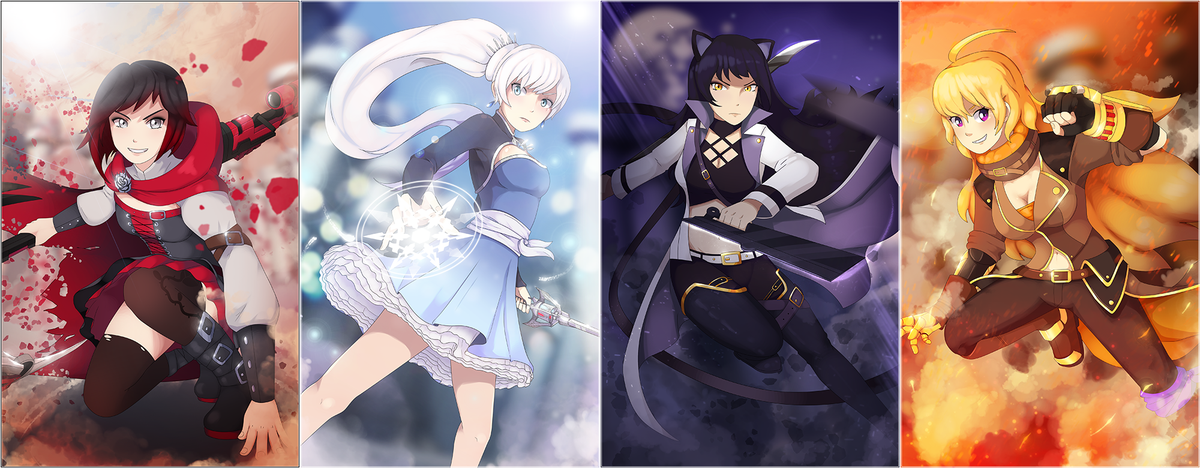 We are lightning Straying from the thunder Miracles of ancient wonder  --------------------------  TEAM #RWBY PRINT SET WILL BE AVAILABLE SOON! I&#39;m still setting up my Society6 store, but I&#39;ll let you guys know when they&#39;re up!  Likes and RT&#39;s (@RoosterTeeth hah hah) appreciated!<br>http://pic.twitter.com/azisny79Z3