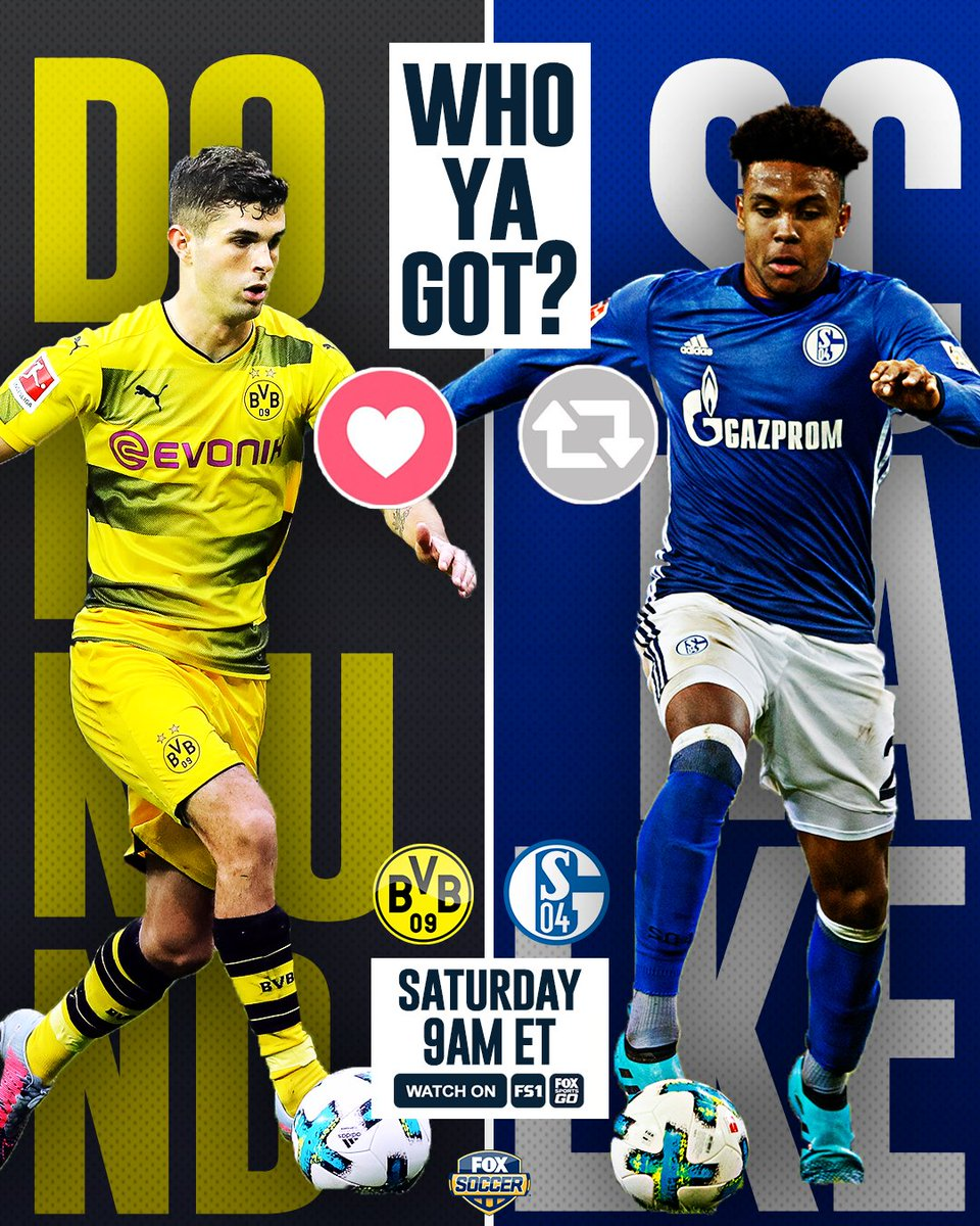 The Revierderby has an American flavor to it this year.  Who wins tomorrow, Dortmund or Schalke? https://t.co/SboMCLso6f