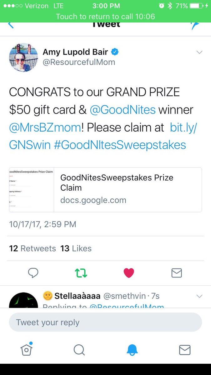 goodnitessweepstakes hashtag on Twitter