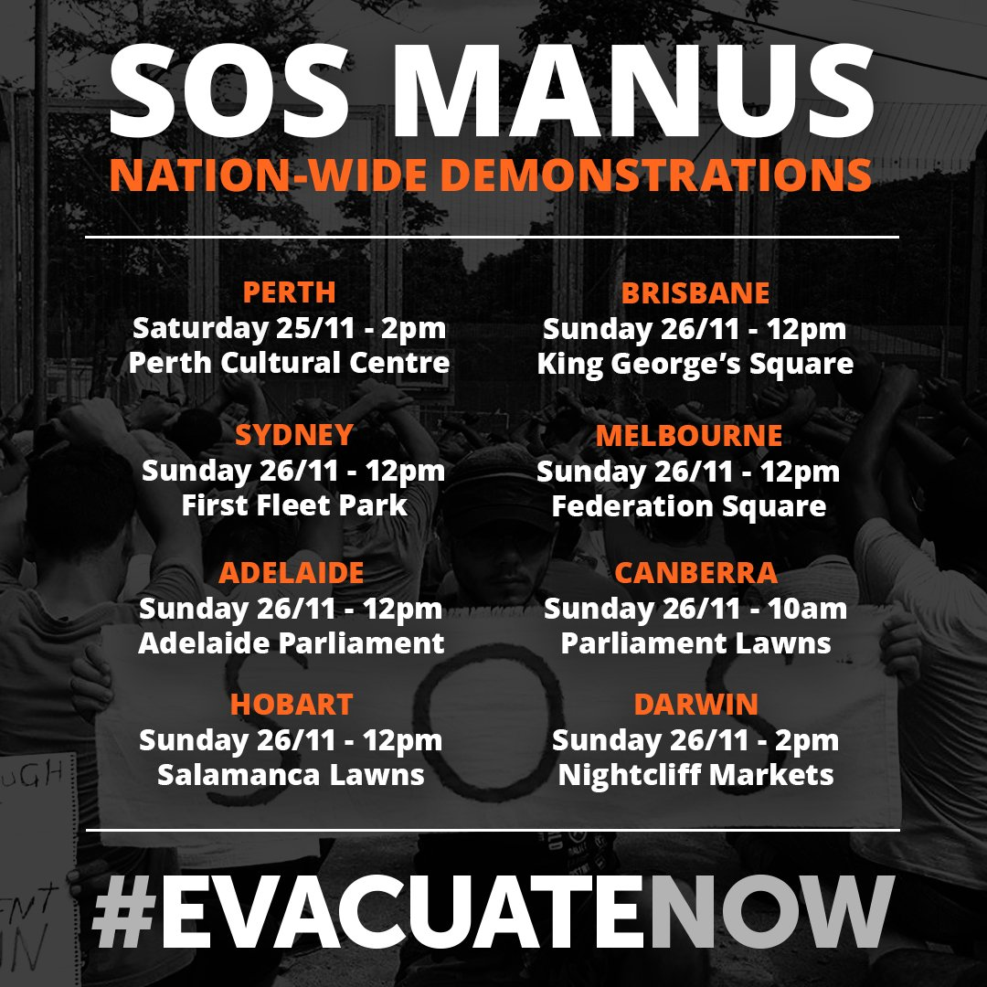 Demonstrations are happening around the country today and tomorrow. Where will you be?  #SOSManus #EvacuateNow