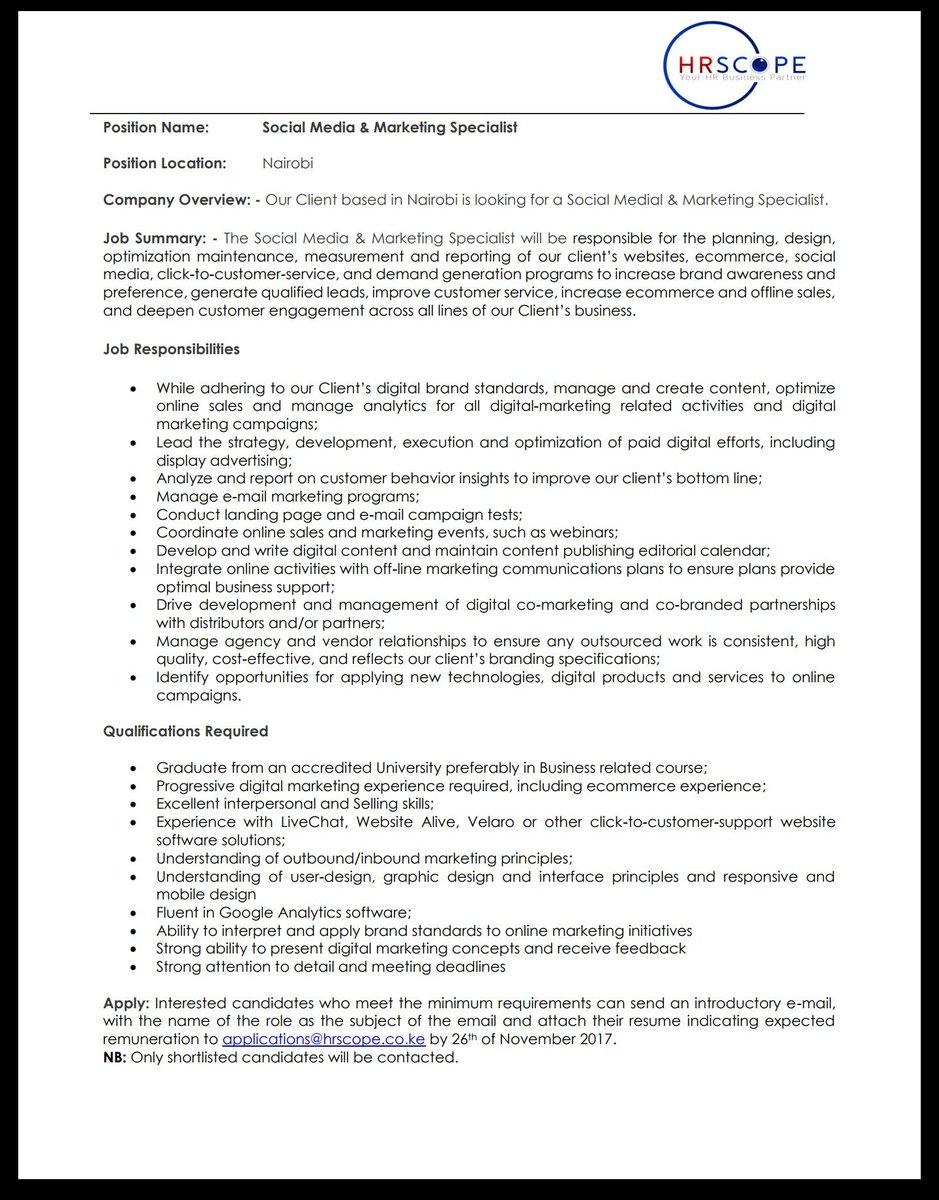 beaufiful marketing specialist job description images retail