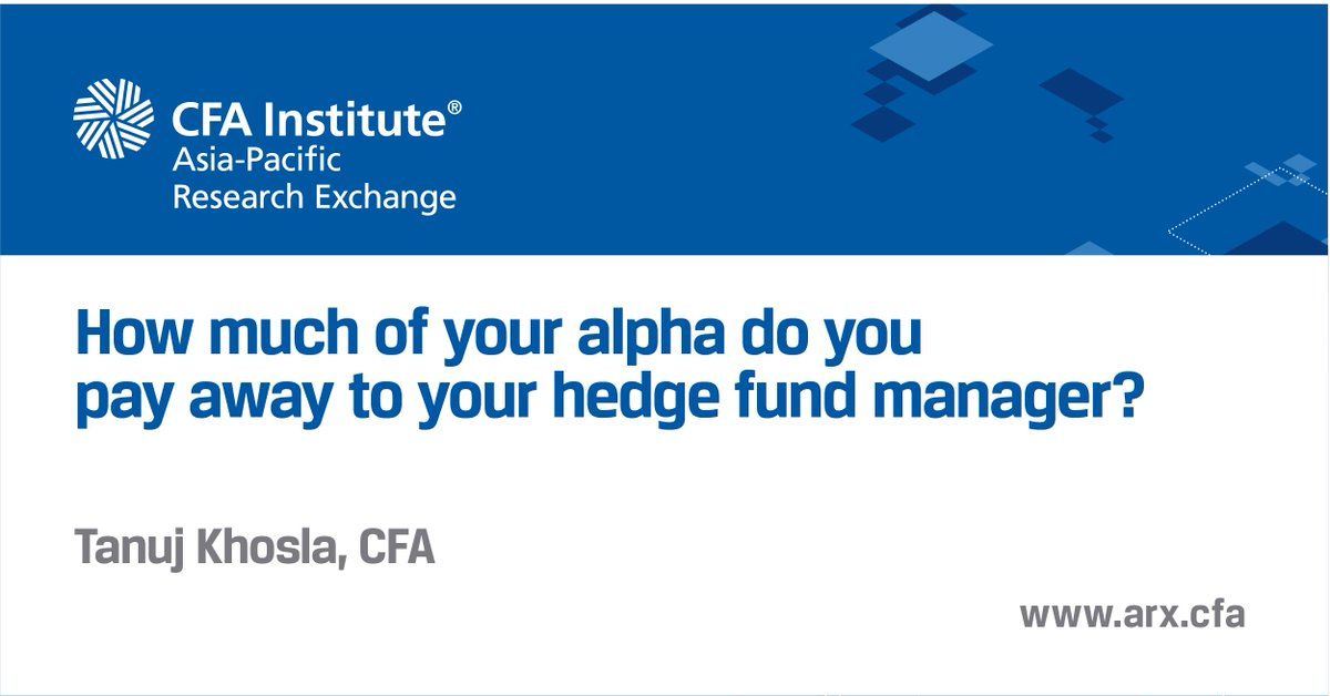 Track Of How Much Alpha They Are Giving Away To The Hedge Fund Manager Learn More On Arxcfainsute Http Cfa Is 2ibttk6 Pic Twitter Vyruglw