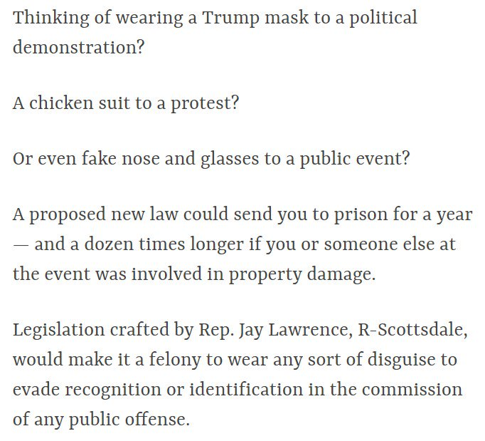 Allegedly targeting Antifa, Arizona Republican introduces legislation to give a year in prison to anyone wearing...any mask...at...a 'public event': https://t.co/CScaeCCNda
