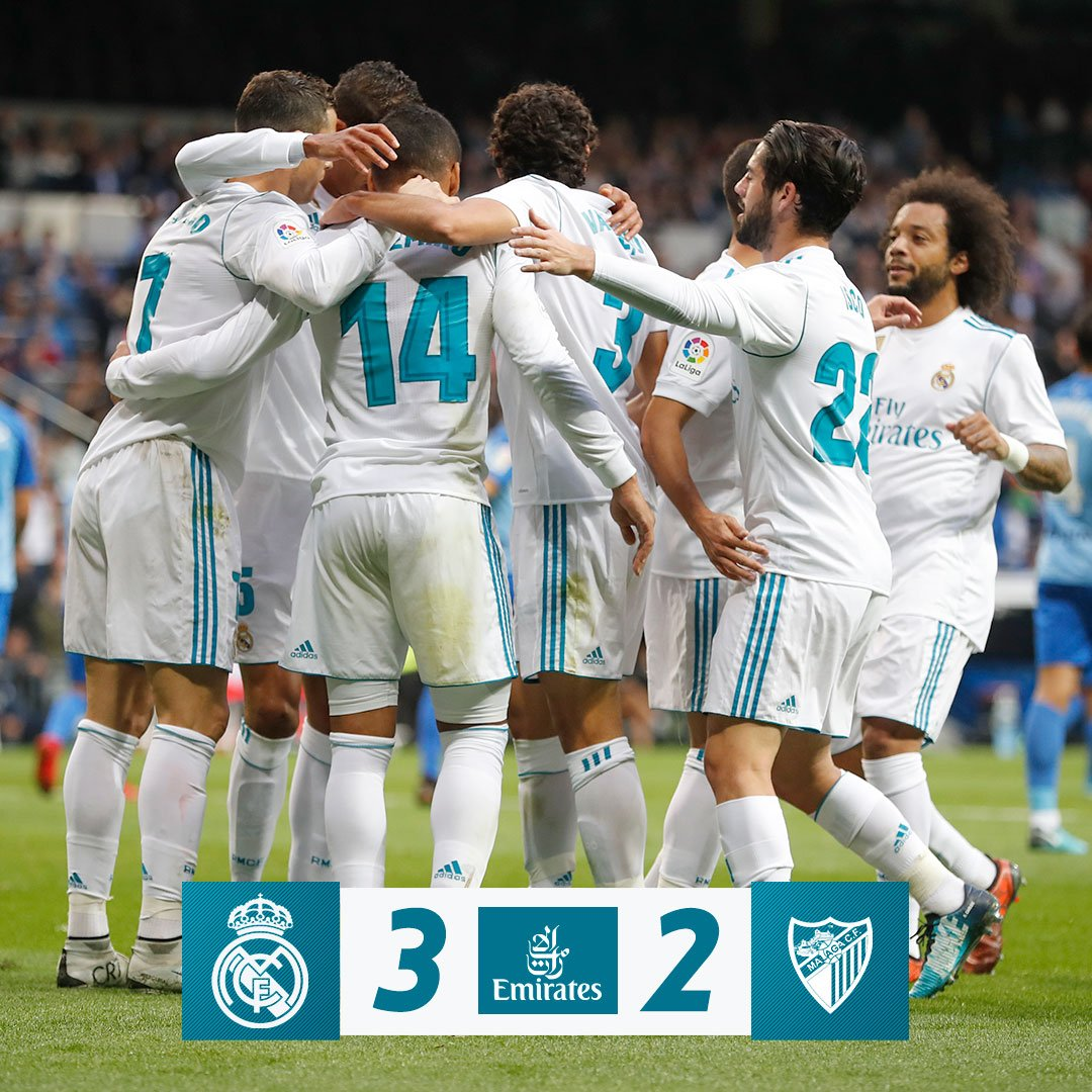 FT: Real Madrid 3-2 Malaga