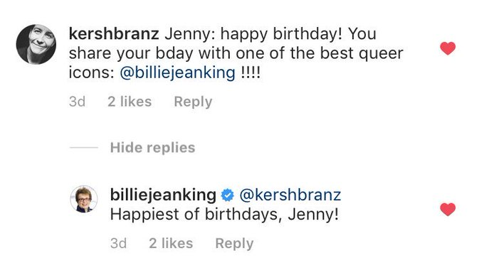Nbd Billie Jean King wished my wife a happy birthday in my insta comments JUST BE COOL BE COOL