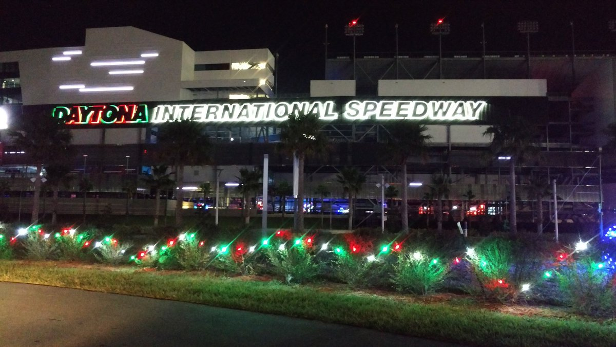 christmas lights all over disupdates for magicoflights so much fun and it even goes under the grandstands daytonabeachpictwittercomgznbxlx6l5