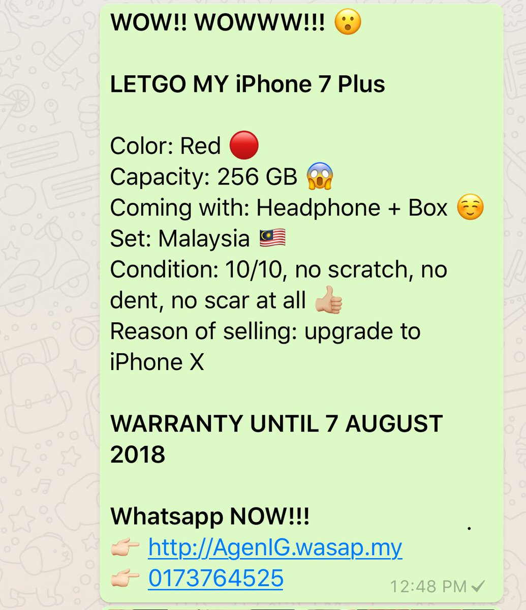 LELONG iPhone 7 Plus dok ada warranty lagi sampai August 2018 wehhhhhh!!!!