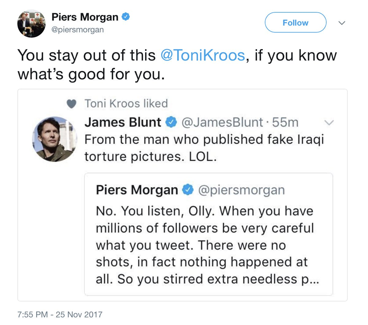 James Blunt has pop at Piers Morgan, Toni Kroos Likes it. Piers has a go at Kroos. Kolo Toure jumps in. Morgan responds to Kolo. Kolo responds and refers to himself in the third person. This is a great f*cking game, folks.