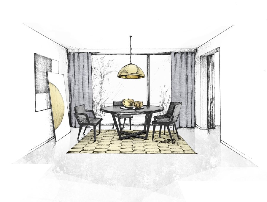 Vorbild Architecture On Twitter Sketch Of Dining Room