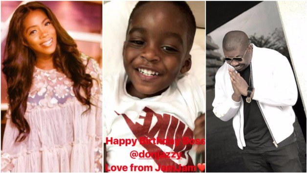 Don Jazzy shares cute video of how Tiwa Savage s son wished him happy birthday (video):