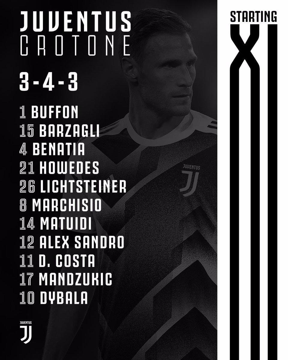 Starting XI Juventus kontra Crotone, via Twitter @juventusfcen
