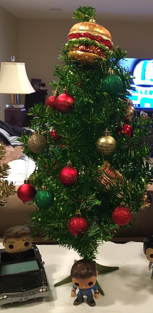 olivia gish on twitter here are my supernatural christmas trees blue is cas green is dean gold is sam theres wings at the top of cas and a - Who Wrote Blue Christmas