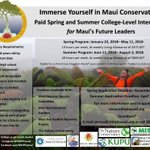 Maui internship opportunities with several different conservation organizations in Spring and Summer 2018.  Apply at https://t.co/lCZM0S2aWH