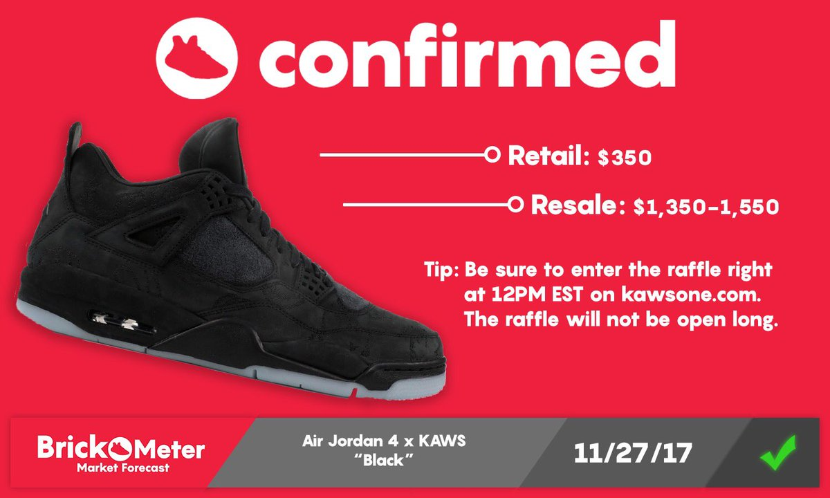 "237d85d382853f Air Jordan 4 x KAWS ""Black"" Releasing on http   kawsone.com via online  raffle. Be sure to enter at 12 PM EST"