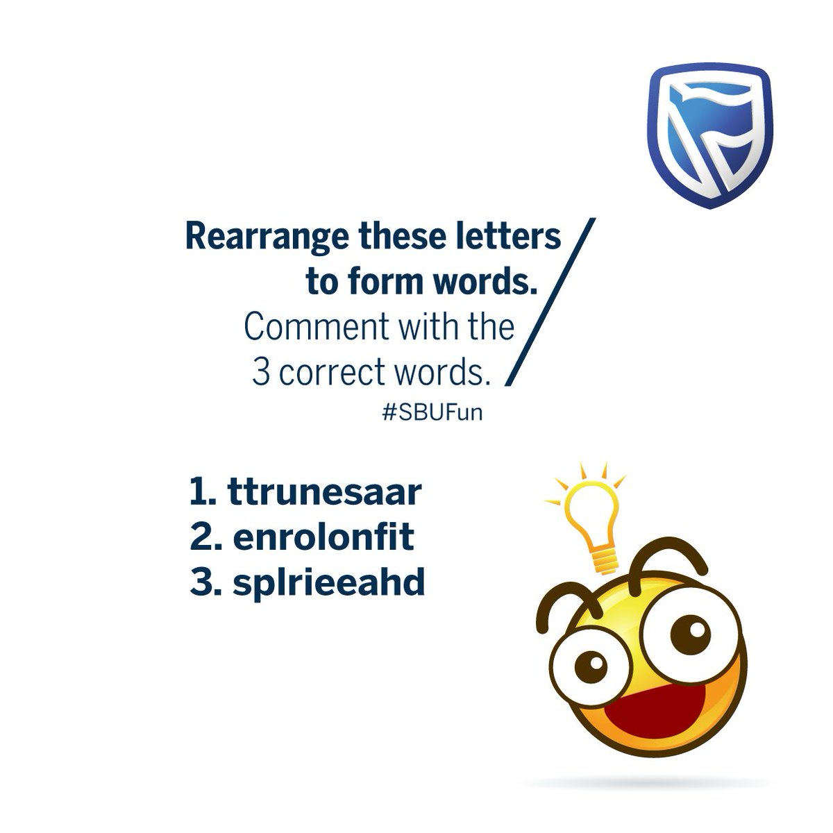 stanbic bank uganda on twitter heres a quick riddle to wind down the day rearrange these letters to form words comment with the 3 correct words