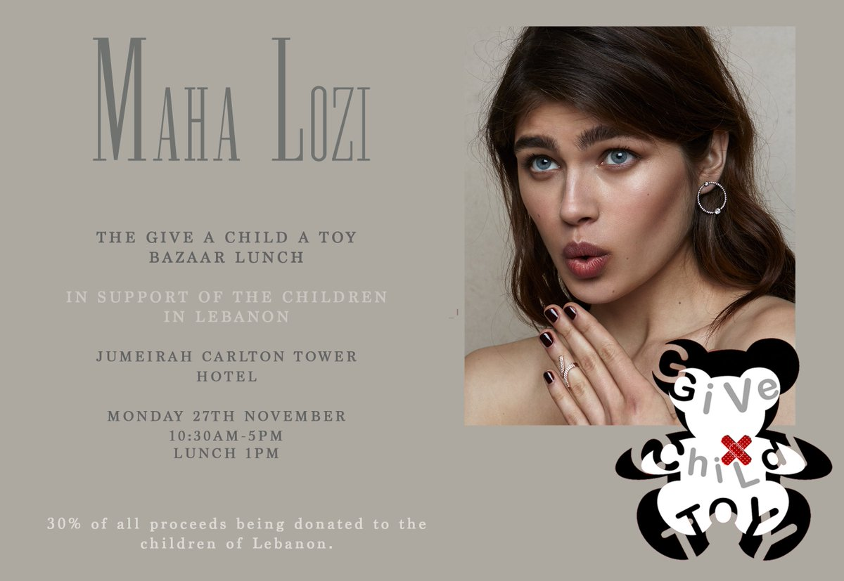 Today we will be exhibiting our jewellery at the Give A Child A Toy Bazaar and donating 30% of all proceeds to the children of Lebanon. We feel honoured to have been selected to contribute to a cause that we hold extremely close to our hearts. https://t.co/oEOP5vx4ur