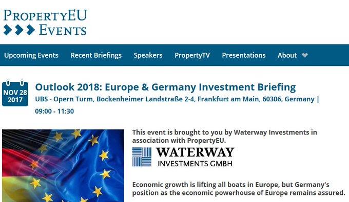 """#Event-Tipp: """"Outlook 2018: Europe & Germany #investment Briefing"""" – die Entwicklung des europäischen und deutschen Investment-Marktes. Morgen mit Matthias Leube, CEO Colliers International Deutschland, bei @PropertyEU im Opernturm #Frankfurt.  t.co/73nIuzJ5b8"""