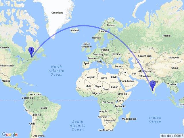 Random Distance on Twitter The distance between SainteBrigittede