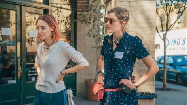 Saoirse Ronan et Greta Gerwig sur le tournage du film Lady Bird