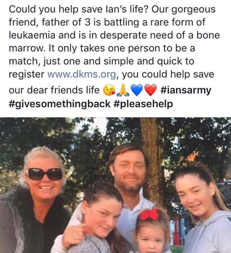 Hi @piersmorgan @MarkWright_ @ollyofficial @tommy_mallet @JoeyEssex_ @petercrouch @LaurenPope @OfficialChip @RealJamesArgent any chance of RT for people to register with @DKMS_uk to try find match for local dad of 3 Ian Witham who needs a match 4 life saving leukaemia treatment