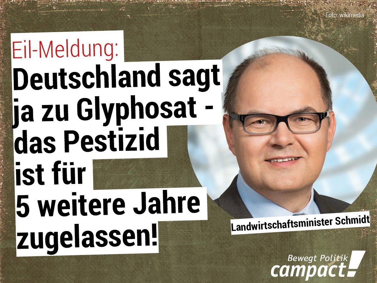 Wir sind schockiert: Agrarminister Schmidt (CSU) linkt die SPD und stimmt im Alleingang pro #Glyphosat. Sollte es trotzdem zu einer #GroKo kommen, heißt das: Die SPD muss durchsetzen, dass Glyphosat in Deutschland nicht mehr zur Anwendung kommt.